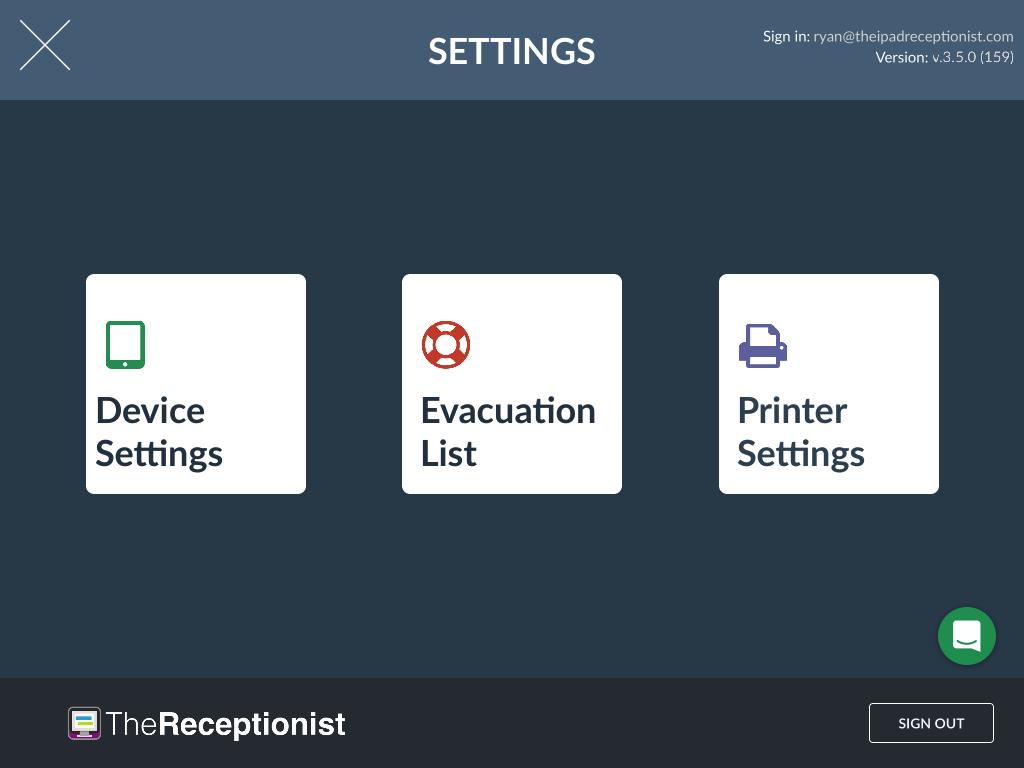 Evacuation List Selection Screen
