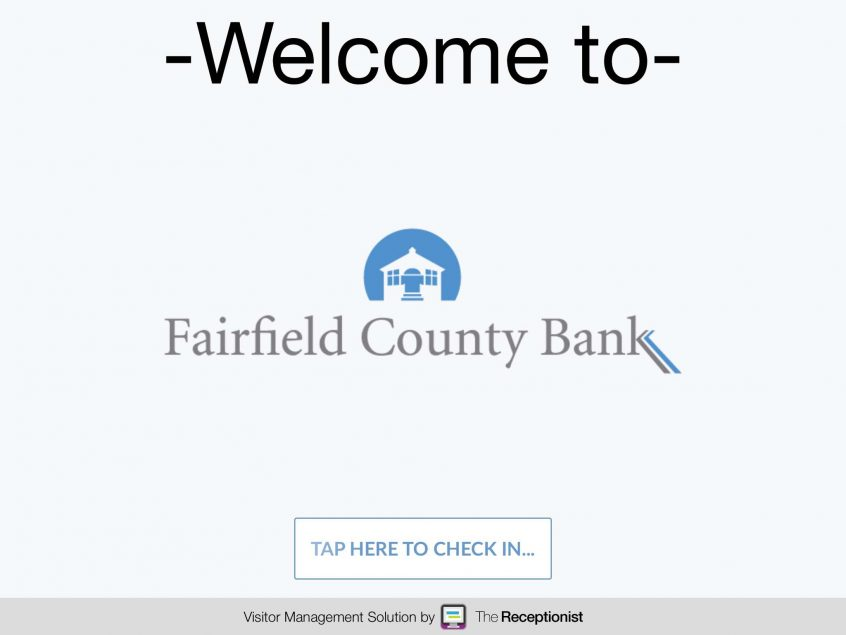 Fairfield County Bank check-in screen