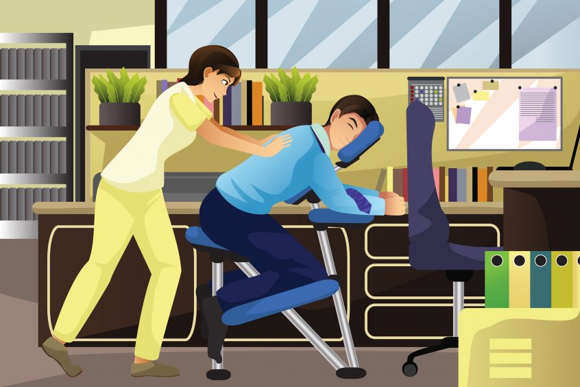 A vector illustration of massage therapist working on a client using a massage chair in an office