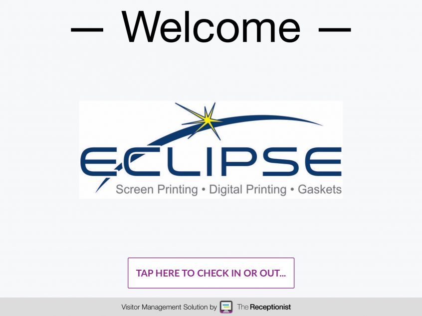 Eclipse Screen Printing check-in screen