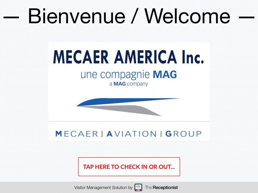 Mecaer America check-in screen