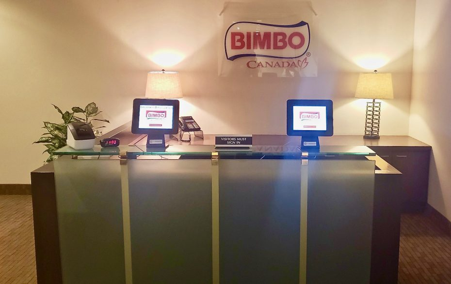 Bimbo Canada visitor check-in area