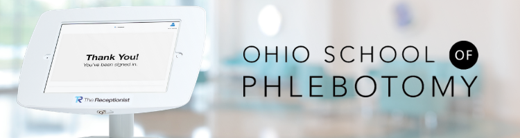 The Receptionist and The Ohio School of Phlebotomy featured business story header ipad check-in for educational facility